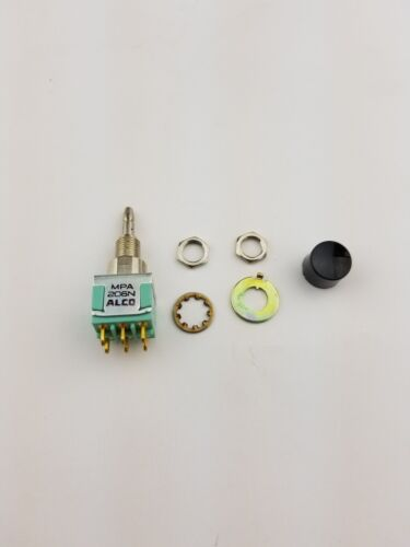 New Alco MPA206N DPDT ON-ON, Panel Mount Push Button Switch 6A 125V, (NOS)