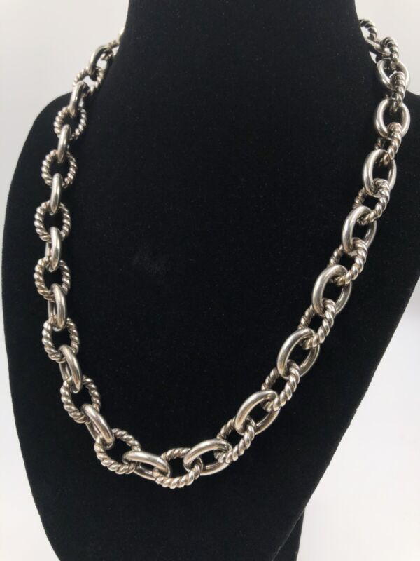 Sterling Silver Carolyn Pollack Heavy Chain Necklace Rope Link 115 grams Estate