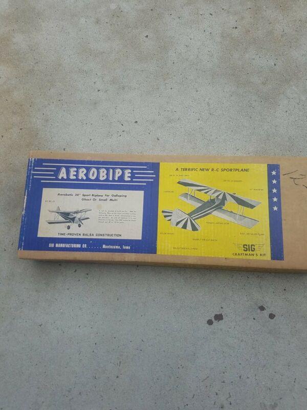 "Rare Vintage Sig RC Model Airplane Kit ""Aerobipe"" Complete Kit from 1969 Look!"