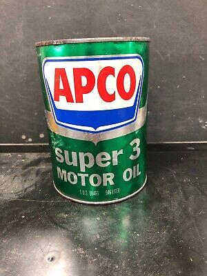Vintage Apco Super 3 Motor Oil Quart Can
