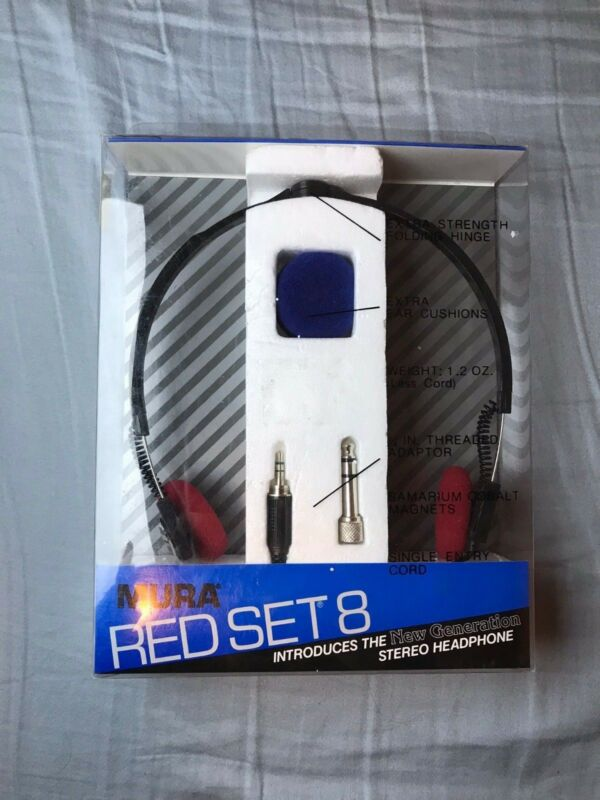 Rare + Vintage MURA RED SET 8 Stereo Headphones SEALED in box