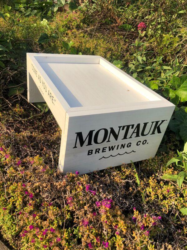 Montauk Brewing Beer Bar Wood Crate Man Cave Mirror