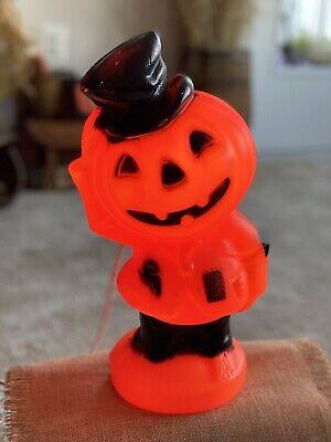"Vintage Halloween Empire Pumpkin Blow Mold Scarecrow 14"" Jack O Lantern Light"