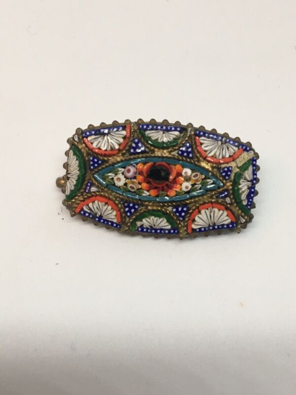 Vintage Italian Micro Glass Mosaic Multi Coloured Flower Signed Brooch Pin