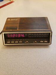 Vtg GE  Digital Red Led Alarm Clock Radio Model 7-4616A Two Wake Times -Working