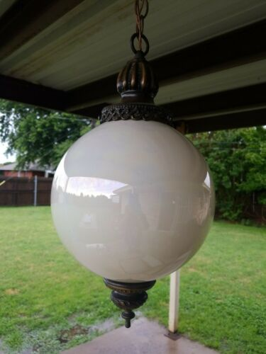 Vintage Mid Century Modern Hanging Round Glass Ceiling Lamp Opalescent Coating