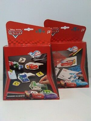 Disney Cars 2x Kids Craft Sets - Make Your Own Wooden Magnets & Stencil Art - Make Your Own Car Magnet