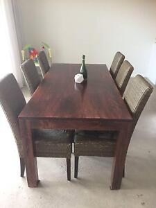 Dining Table (dark timber) & 6 rattan chairs (purchased $2,000) Little Bay Eastern Suburbs Preview