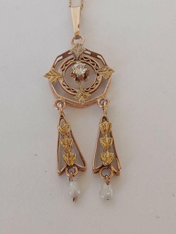 Antique 14K Gold Dangle Necklace Art Nouveau Art Deco W Diamond & Pearls Slykay