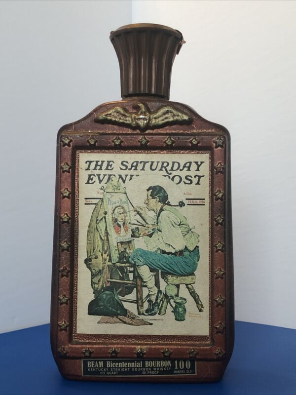 Vintage Jim Beam The Saturday Evening Post Bicentennial Whiskey Decanter 1976