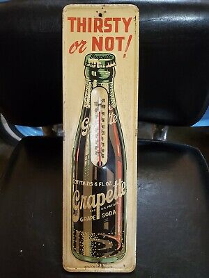 VINTAGE GRAPETTE GRAPE SODA POP THIRSTY OR NOT METAL THERMOMETER Gas Station oil