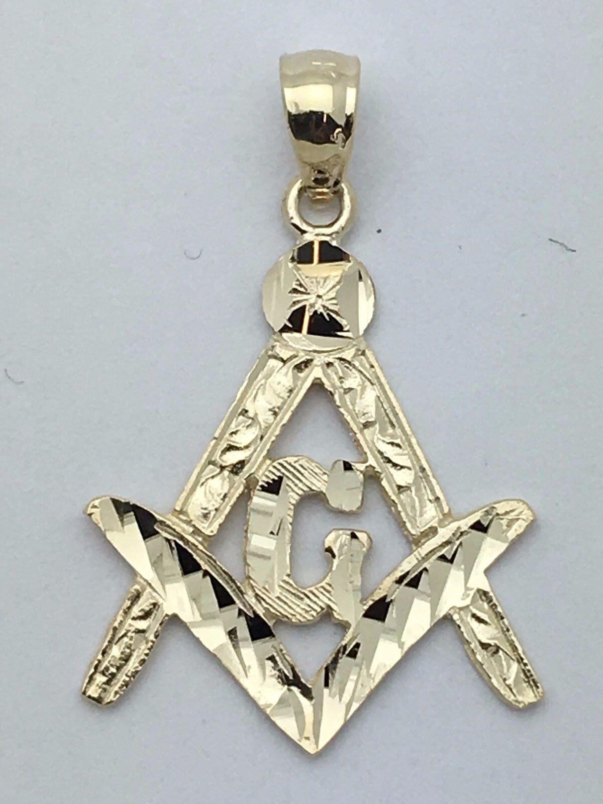 New 14k Solid Yellow Gold Diamond Cut Freemason Masonic
