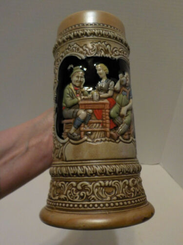 "Vintage CERAMARTE Brazil Beer Stein with German Pub Drinking Scene 7 13/16"" Tall"