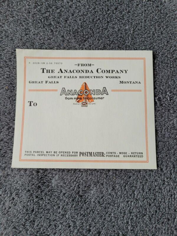 Vintage Anaconda Company Great Falls Reduction Works Montana Shipping Label