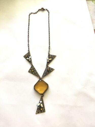Vintage Art Deco Brass Filigree Citrine Glass Enamel Lavalier Floral Necklace