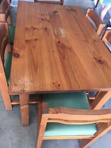 Solid Pine Dining Suite with 6 pine and upholstered chairs Yarraman Toowoomba Surrounds Preview