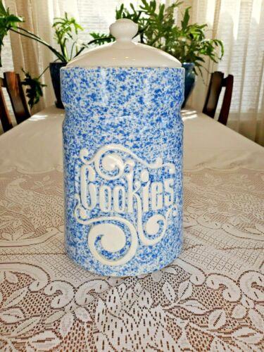 "Spongeware cookie jar canister Vintage ceramic 11"" tall hobbiest piece?"