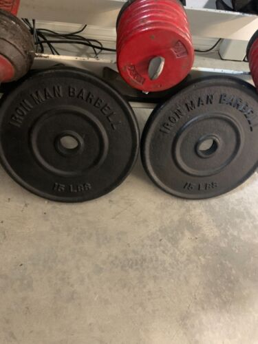 Vintage Iron Man 15 pound weight plates