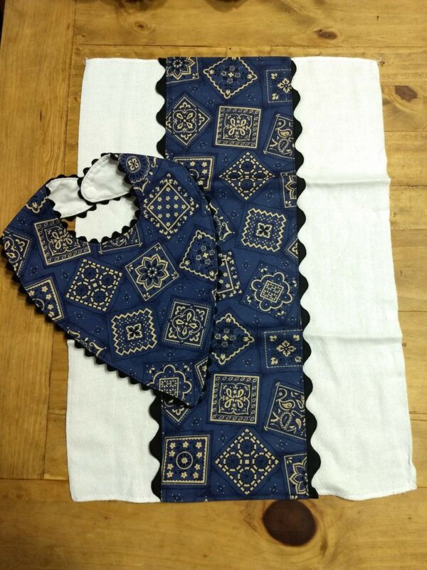Bandana Bib and Burp Cloth Set - Blue Bandana with Black Rickrack