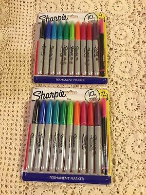 Lot Of 2 Sharpie Fine Point Permanent Markers10ct. Assorted Colors 1 Pen