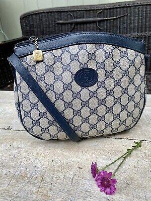 Authentic Gucci Vintage PVC Leather Blue Crossbody Bag
