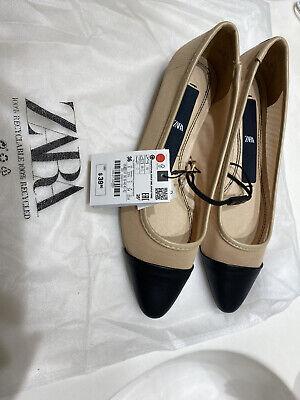 ZARA Size 6 Flat Shoes Beige & Black