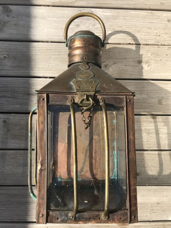 ANTIQUE RARE Copper Brass LANTERN GRIMSBY COAL SALT & TANNING Co One Of A Kind