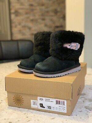 Uggs Australia Ellee Kids black suede fur boots Size 10