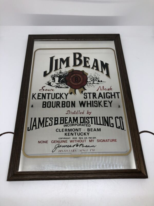 Vintage Jim Beam Mirror Advertisment