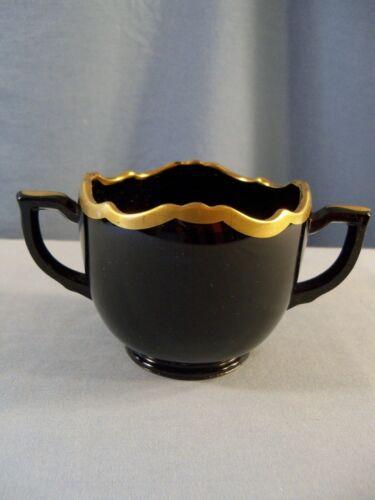 L.E. Smith Mt. Pleasant Black Glass Sugar Bowl w/ Gold Trim INV2