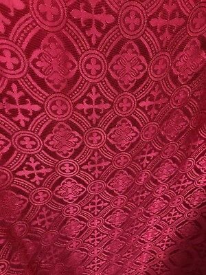 RED LITURGICAL CROSS BROCADE FABRIC (60 in.) Sold By The Yard](Red Brocade)