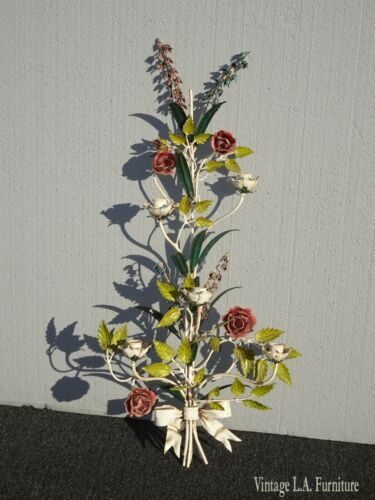 "Vintage 31""High French Country Floral Wall Candle Holder Italian Tole"