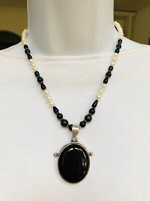 Sterling Silver Cultured Pearl and Black Onyx Necklace, Huge Onyx Focal, 925 Pearl Black Onyx