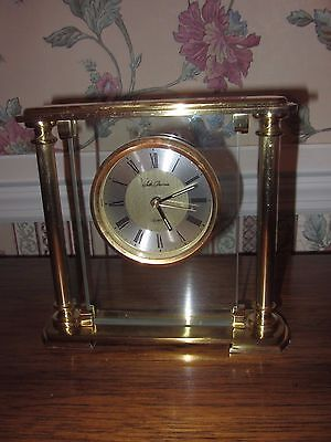 SETH THOMAS QUARTZ BRASS MANTLE CLOCK W GERMAN MOVEMENT