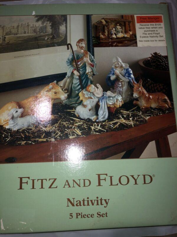 Fitz & Floyd Vintage Nativity 5 Pc Set Excellent Condition in Original Box