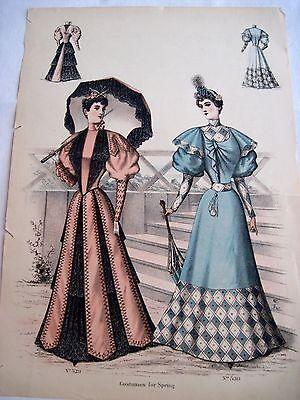 Stunning Vintage Fashion Advertising Print w/ Woman Wearing 1880's Dress C*