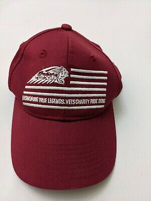 Indian Motorcycles Honoring True Legends Veterans Maroon Strapback Hat Cap