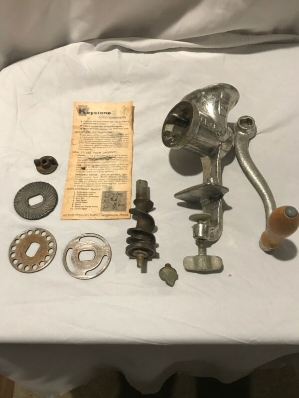 Vintage Manual Hand Crank Metal Meat Grinder Keystone Food Chopper #20 With Box