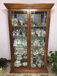 **Reduced** 5 Shelf Solid Wood Curio - with display light