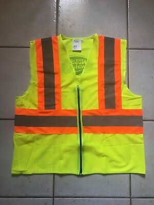 High Visibility Neon Yellow Orange Zippered Safety Vest Ansiisea Level 2 Size M