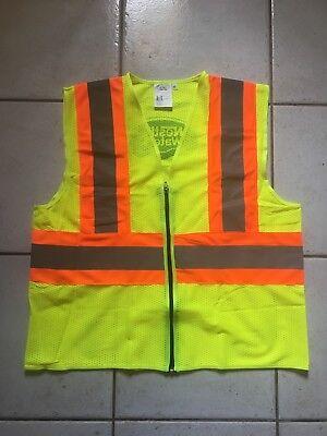 High Visibility Neon Yellow Orange Zippered Safety Vest ANSI/ISEA Level 2 Size M