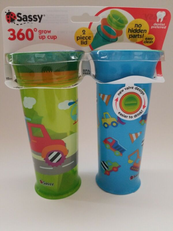 (2PACK) Sassy 360 Grow Up Cup Vehicles 12oz Dentist Recommended Spoutless Cup
