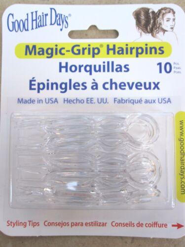 """Magic Grip ® Hair Pins Crystal 10 Pieces Per Pack 2 1/2""""Pins Good Hair Days New"""