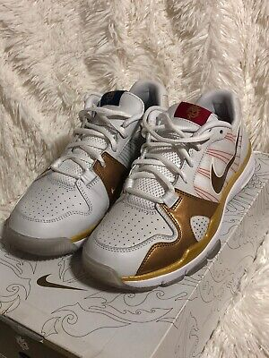 Nike Trainer 1.2 Low MP Manny Pacquiao Premium White Gold 445235 171 Sz 7.5 for sale  Shipping to Canada