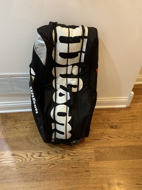 WILSON Tour Thermo-Guard TENNIS Racquet Equipment BAG 6-Pack BLACK & WHITE