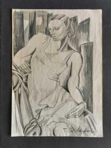 TAMARA DE LEMPICKA DRAWING ON OLD PAPER MIXED MEDIA VTG ART