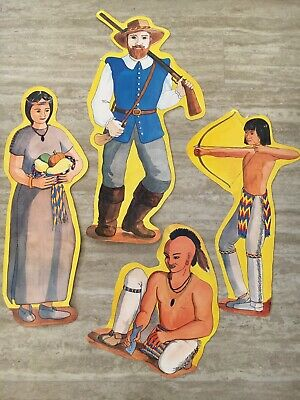 Vintage Thanksgiving Decorations (4 Vintage Pilgrim Indian Thanksgiving Diecut Cardboard Cutout Decorations)