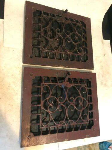 "2 CAST IRON ARTS CRAFT DECO VICTORIAN 11 5/8"" x 9 3/4"" WALL HEAT GRATE REGISTER"