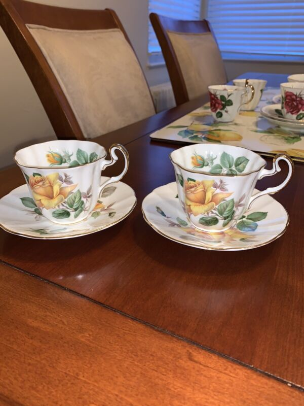 Adderley Fine Bone China England Minerve Cup Saucer 2 Sets