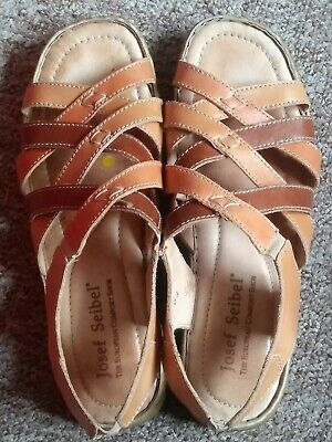 JOSEF SEIBEL Brown Leather Strappy Open Toe Sandals, UK Size 4